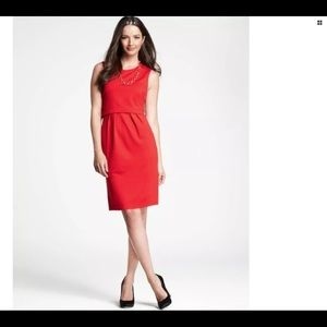 NWT Ann Taylor Layered Waist Sleeveless Dress Red
